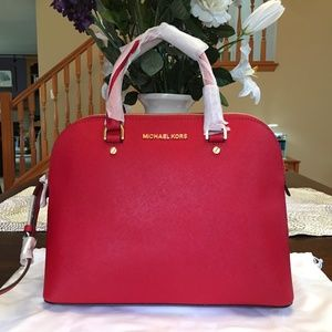 Michael Kors Red Watermelon Cindy Dome Satchel Bag